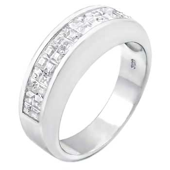 Sterling Silver Invisible SQ.Cubic Zirconia Channel Set Band Ring