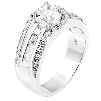 .925 Sterling Silver Cubic Zirconia 8MM Round & Princess CZ Man Ring