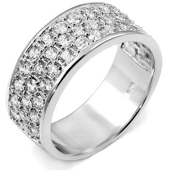 Sterling Silver Cubic Zirconia Hand Set Round CZ Man Ring