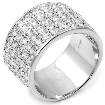 Sterling Silver Round Cubic Zirconia Wide Band Ring