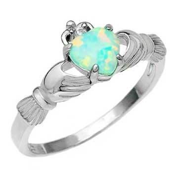 Sterling Silver Lab Opal Claddagh Ring