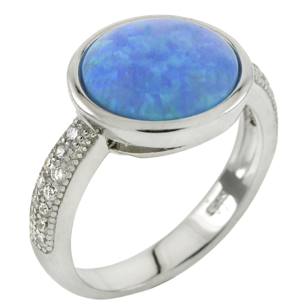 Sterling Silver Cubic Zirconia Ring W. Simulated Blue Opal Bezel Setting
