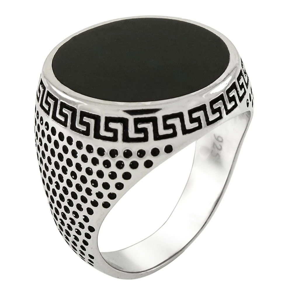 Sterling Silver Simulated Black Onyx Ring
