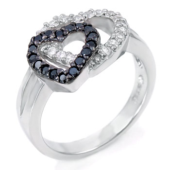 Sterling Silver Black & White Double Heart CZ Ring