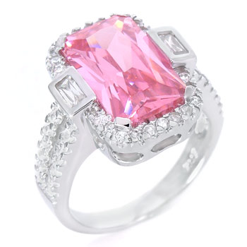 Sterling Silver Pink Rectangle Clear Round & Baguette CZ Ring