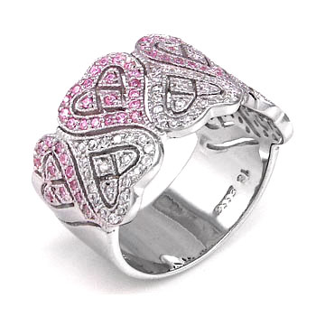 Sterling Silver Cubic Zirconia Pink & Clear CZ Band Heart Ring