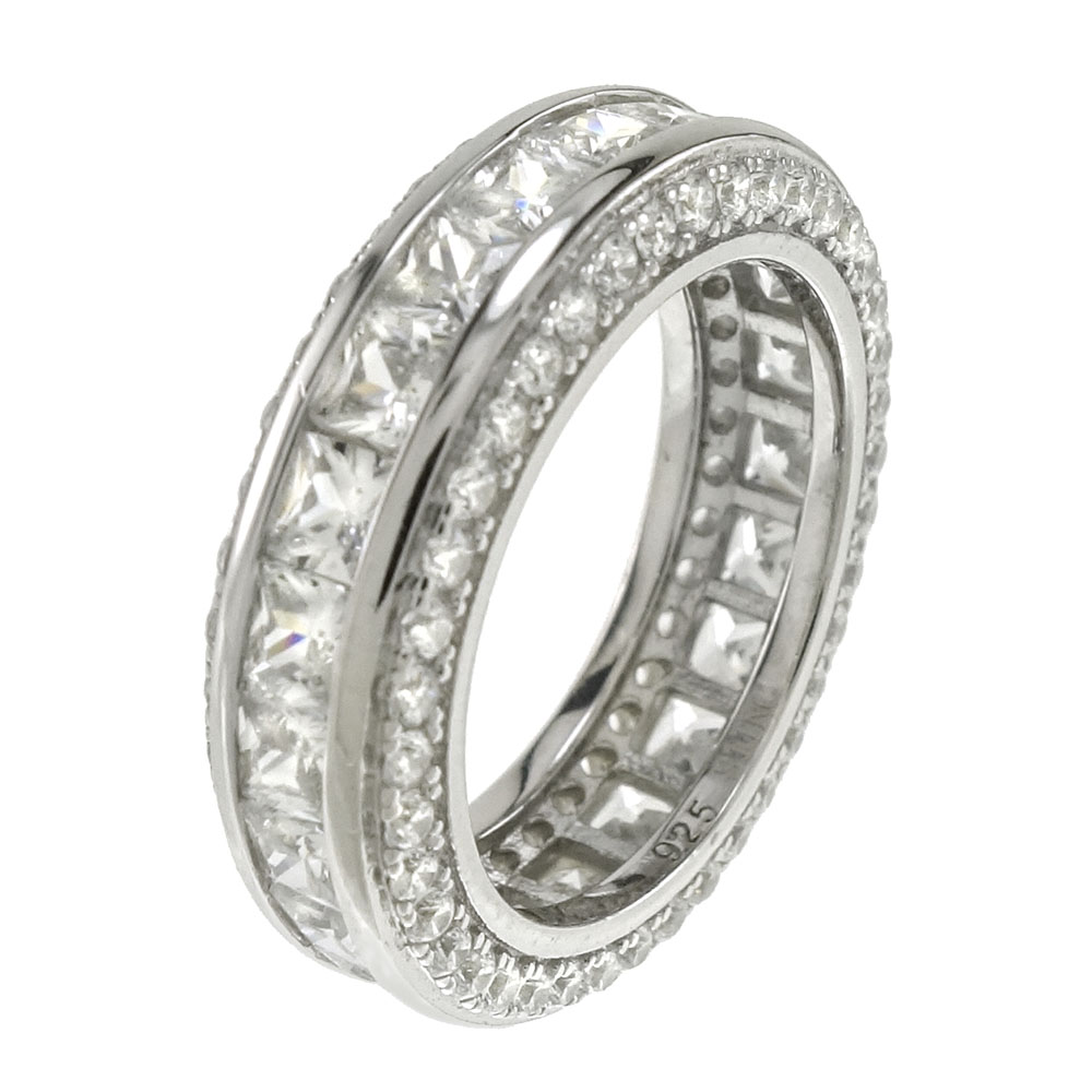 Sterling Silver Princess Cubic Zirconia Band Ring