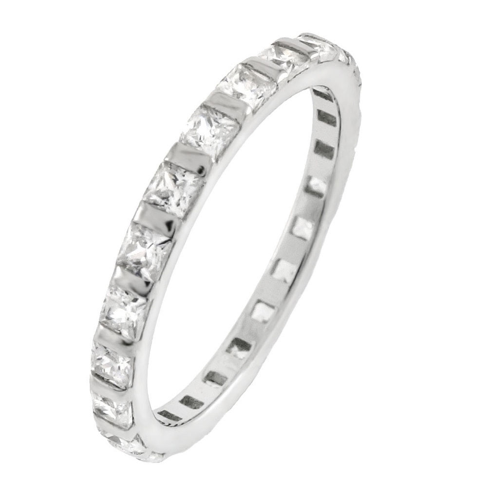 Sterling Silver Princess Cut CZ Eternity Ring