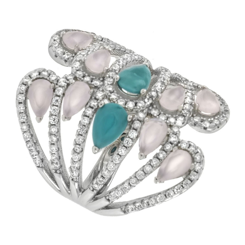 Sterling Silver Turquoise Color &Rose Quarts CZ Ring