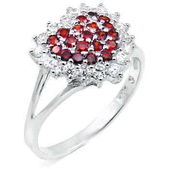 Cubic Zirconia Silver Ruby Heart Cocktail Ring
