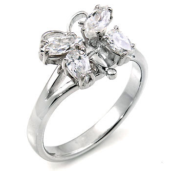 Butterfly Engagement CZ Silver Ring