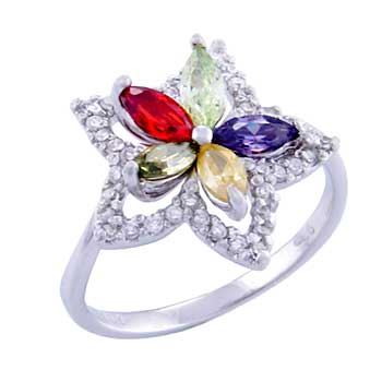 Sterling Silver Star Shape Round & Marquise Multi Color Flower CZ Ring