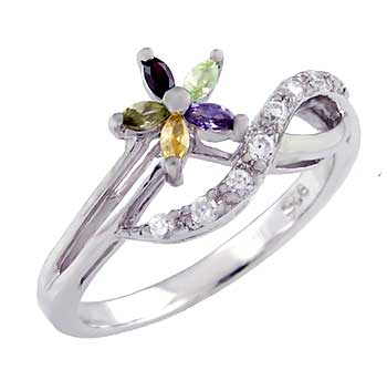 925 Silver Infinity Shape W/ Multi Color CZ Ring