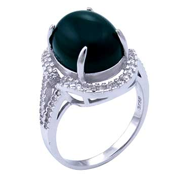 Sterling Silver 10*14 mm Green Jade Cocktail Ring