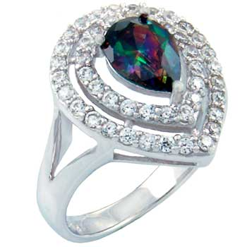 .925 Silver 6*9 mm Tear Drop Rainbow Topaz & CZ Pave Ring