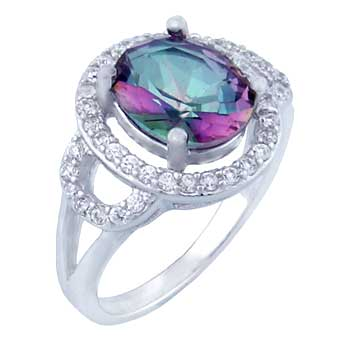 Sterling Silver Oval Rainbow Topaz Pave CZ Ring