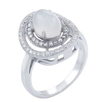 .925 Silver 6*9 mm White Topaz & Round CZ Pave Setting Ring
