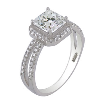 925 Silver Pave Setting 7X7 Princess CZ Ring