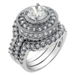 Sterling Silver 8mm Round CZ 3 Pieces Wedding Ring Set