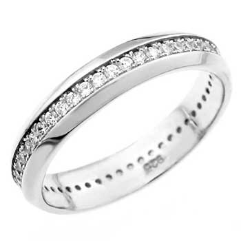 925 Silver Dome shape 1MM CZ Eternity Ring