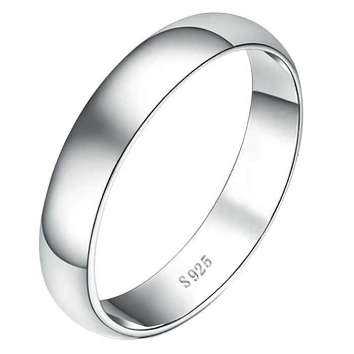 .925 Sterling Silver 4MM Plain Wedding Band Ring