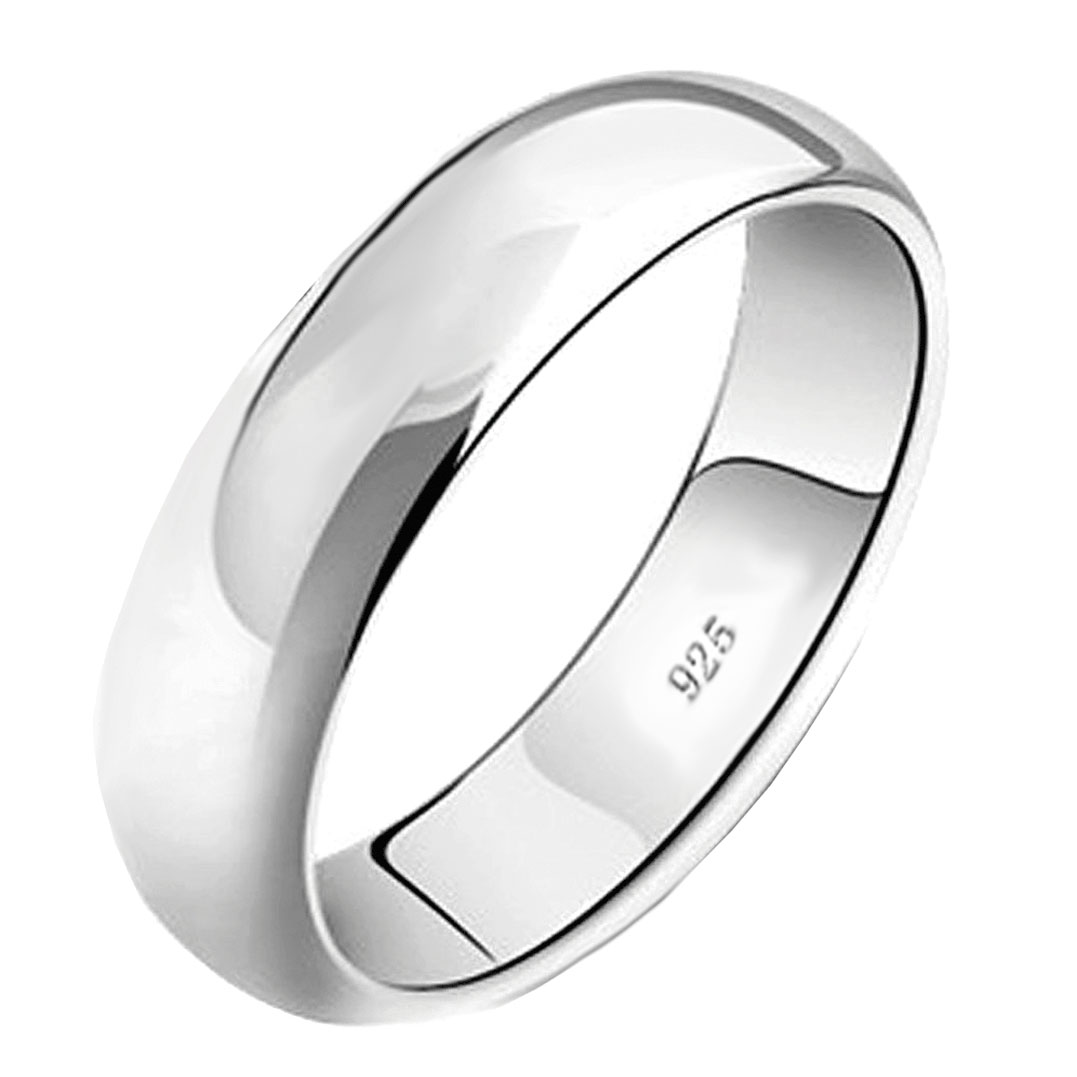 .925 Sterling Silver 6MM Plain Wedding Band Ring