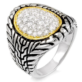 925 Sterling Silver Cubic Zirconia Two Tone Ring