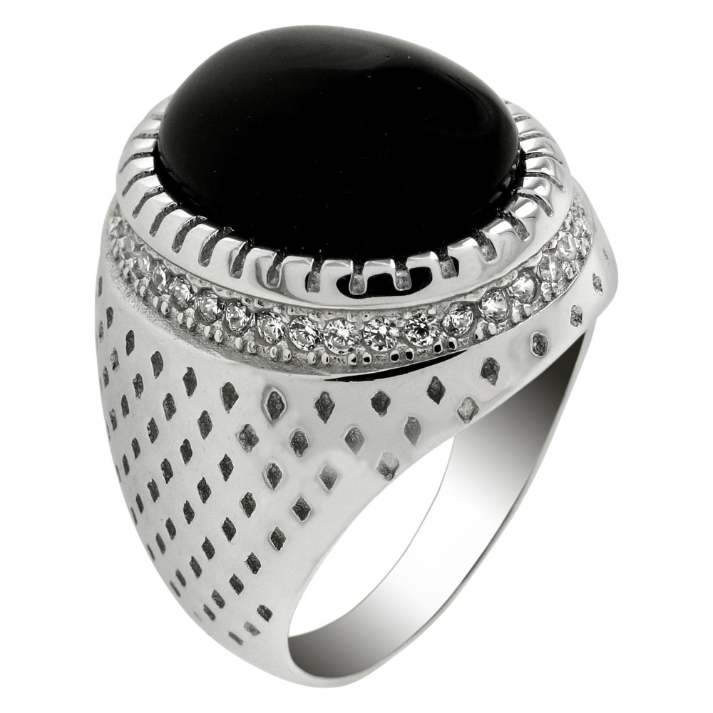 Sterling Silver Oval Black Onyx & Cubic Zirconia Ring