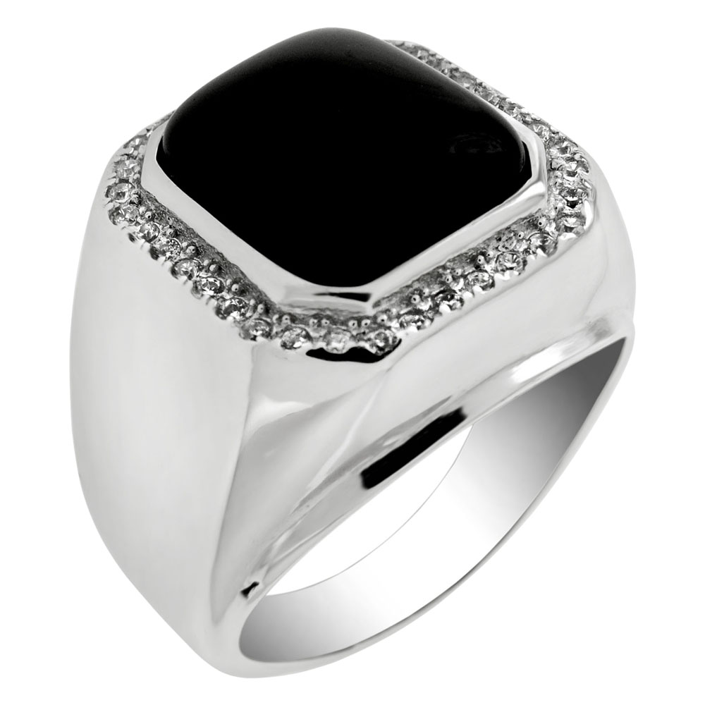 Sterling Silver Cubic Zirconia & Black Onyx Ring