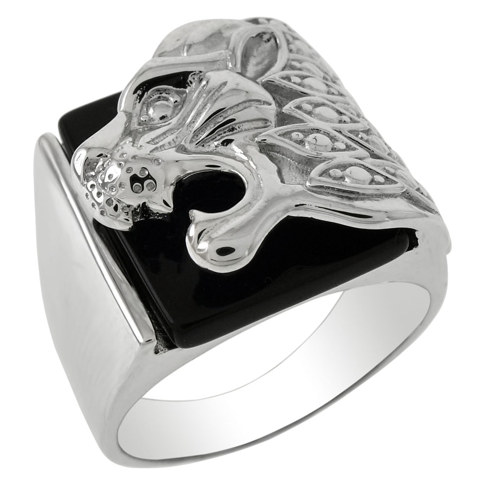 Sterling Silver Lion Head W. Black Onyx Ring