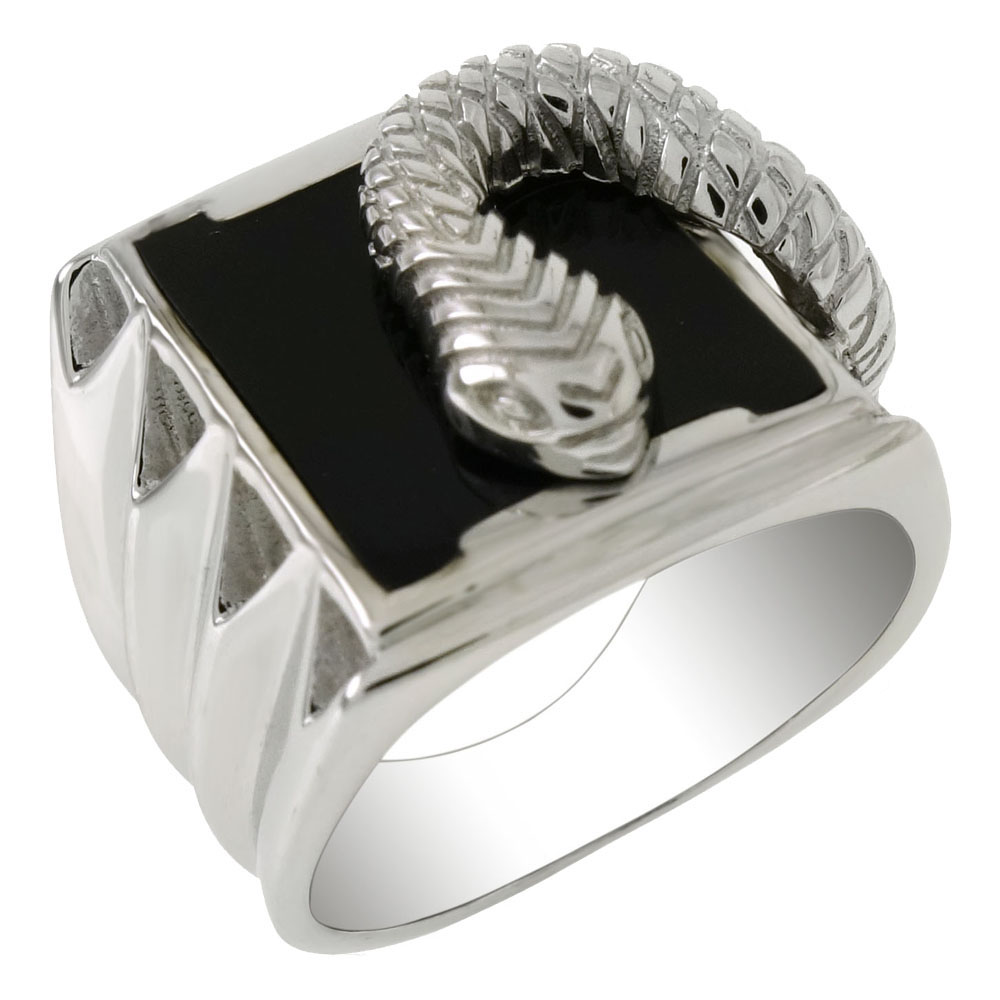 Sterling Silver Snake W. Black Onyx Ring