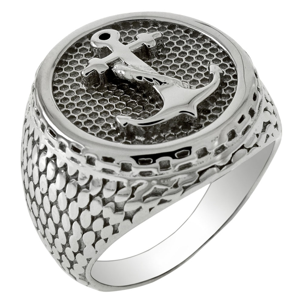 Sterling Silver Anchor Rhodium Ring