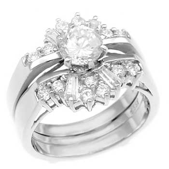 Cubic Zirconia Silver Wedding Ring Set