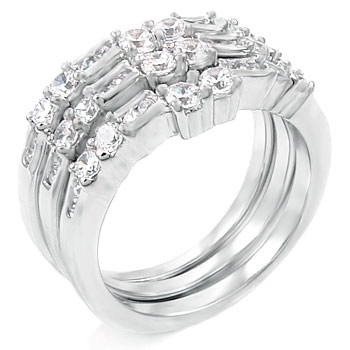 Sterling Silver 3-PC Paved Setting Wedding Ring Set