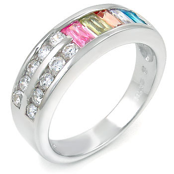 Sterling Silver Cubic Zirconia Baguette Multi Color CZ Ring
