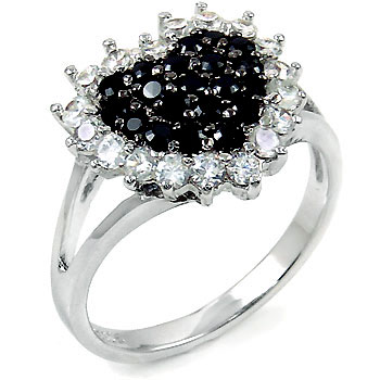 Sterling Silver Cubic Zirconia Black CZ Heart Ring