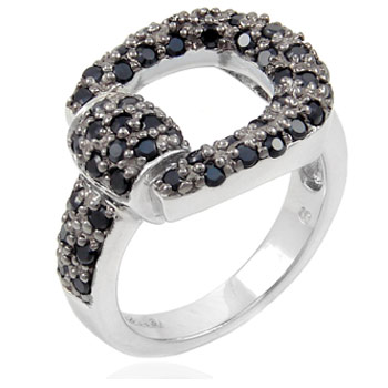 Sterling Silver Black CZ Horseshoe Ring