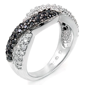 Sterling Silver Cubic Zirconia Black & White CZ Ring