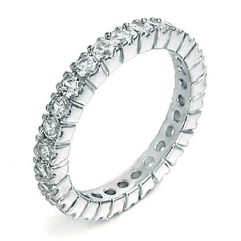 Sterling Silver Eternity Round CZ Rhodium Ring