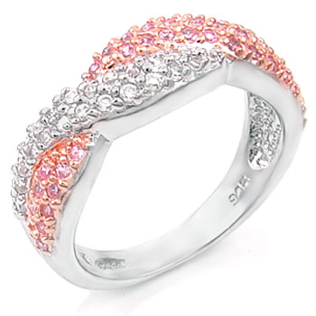 Sterling Silver Fashion Design Pinkish Orange & Round CZ Ring