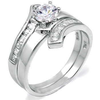 Silver Wedding Engagement CZ Ring Set