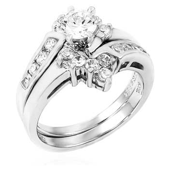 CZ Sterling Silver Wedding Ring Set