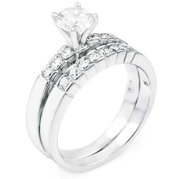 CZ Silver Wedding Engagement Ring Set