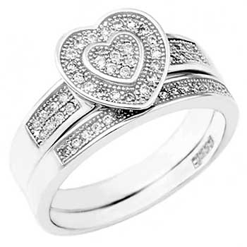 Sterling Silver Cubic Ziconia Mirco Pave Setting Ring Set