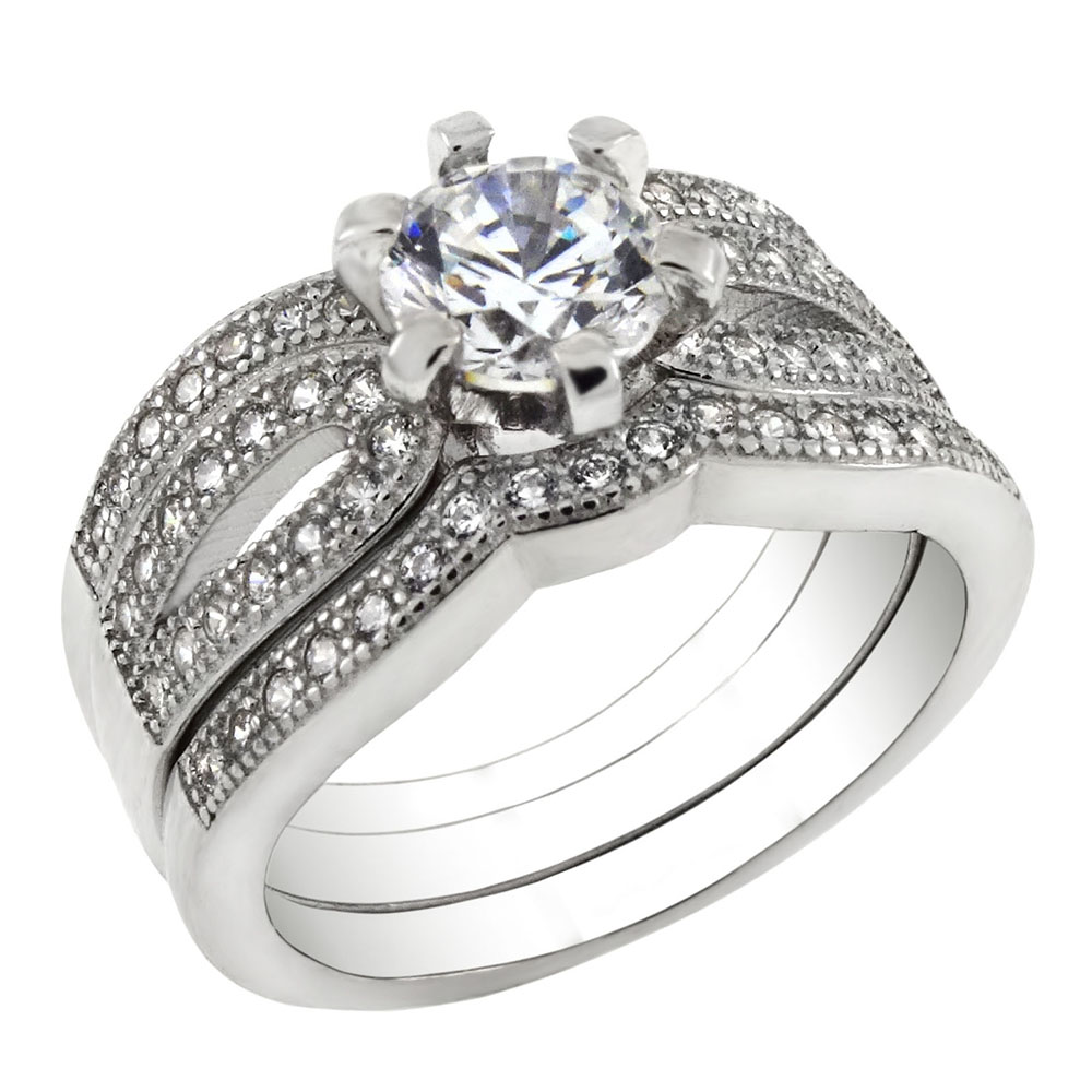 Sterling Silver Cubic Zirconia 3-Piece Bridal Ring Set