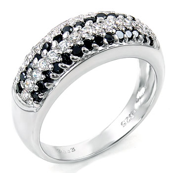Sterling Silver Cubic Zirconia Black & Clear CZ Ladies Ring
