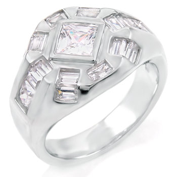 Sterling Silver Cubic Zirconia Baguet & Princess CZ Ring