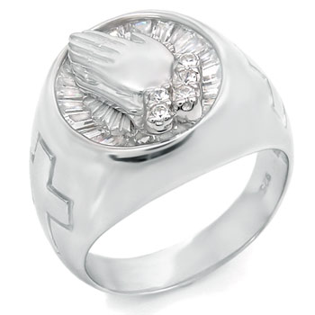Sterling Silver Cubic Zirconia CZ Men Ring w/ Praying Hands