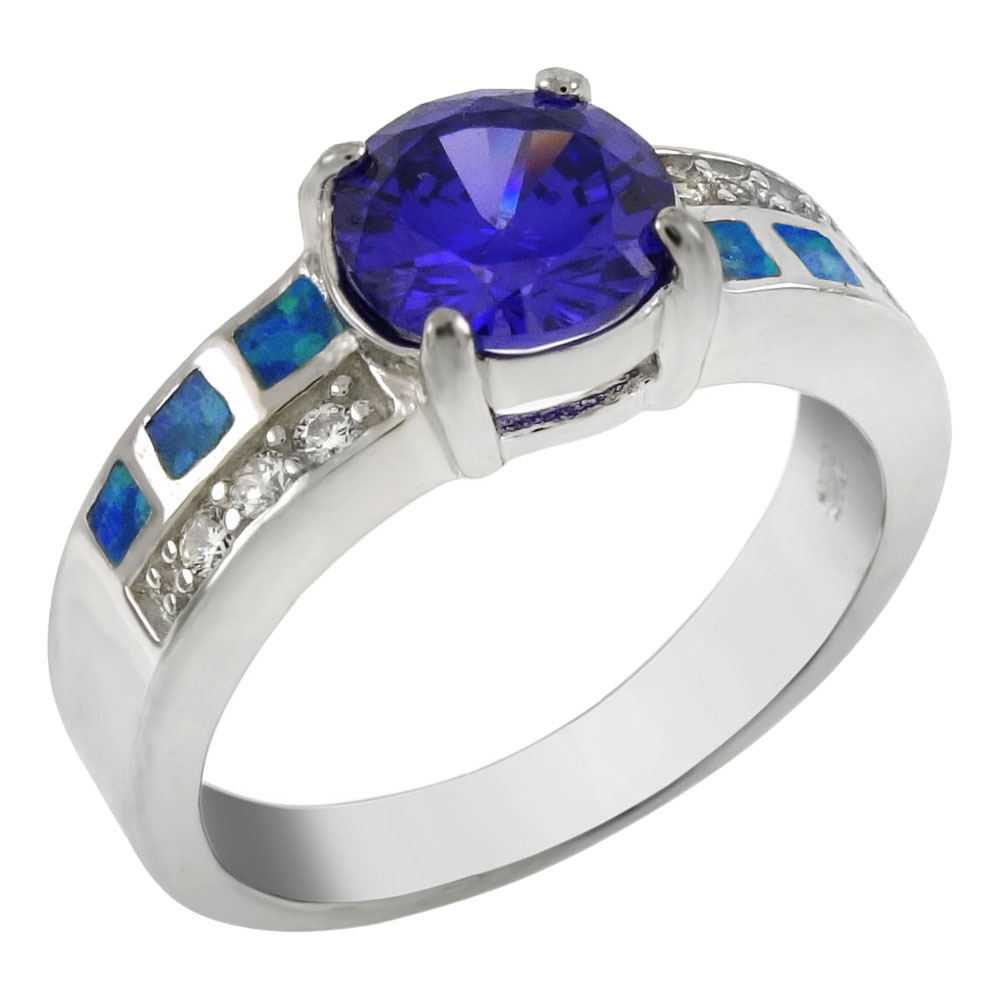 Sterling Silver Simulated Blue Opal W. CZ Amethyst Ring