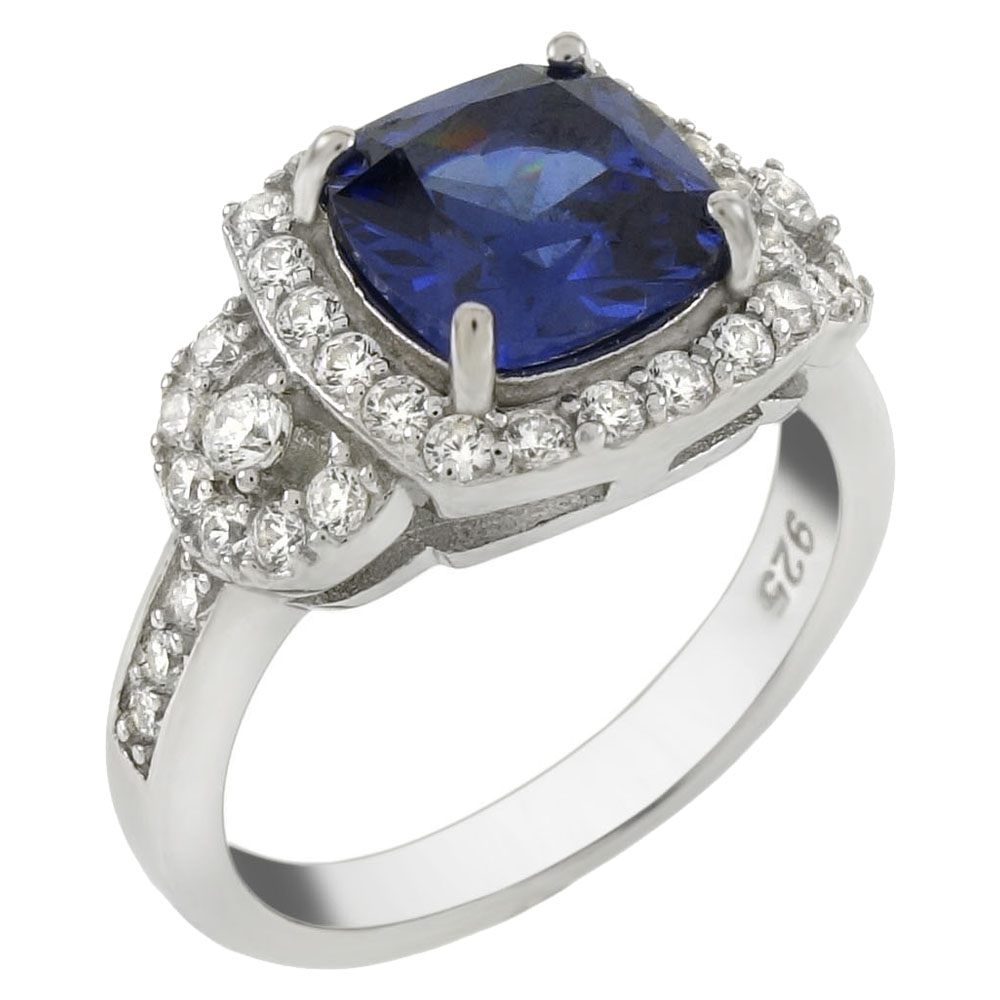 Sterling Silver 8X8mm Simulated Tanzanite and CZ Cocktail Ring